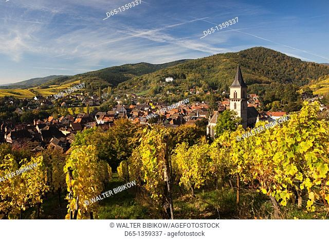 France, Haut-Rhin, Alsace Region, Alasatian Wine Route, Ribeauville, town overview, autumn