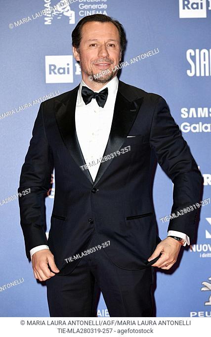 Stefano Accorsi during the David di Donatello Award red carpet, Rome, ITALY-27-03.2019