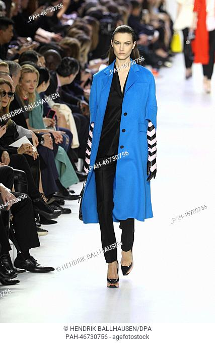 A model wears a creation by Belgian designer Raf Simons as part of the  Christian Dior b3afe46a4a9