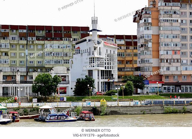 Romania, Tulcea at the Danube, Saint George branch, Tulcea County, Dobrudja, Gate to the Danube Delta, city view, harbour, Tulcea Tourist Information Center