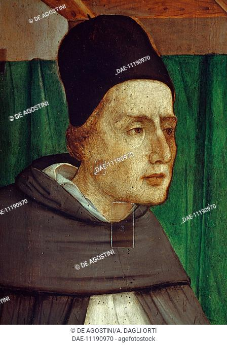 Portrait of Albert the Great (1200-1280), Saint and theologian, painting by Giusto di Gand (Joost van Wassenhove, documented from 1460 to 1475) and Pedro...