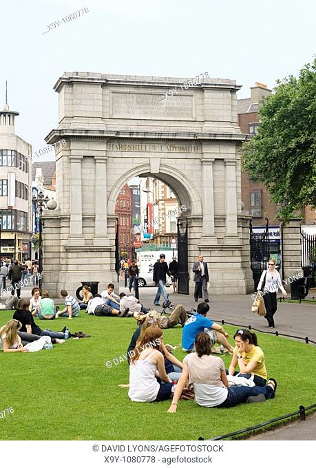 Dublin City, Ireland  Arch on St  Stephen's Green erected 1904 commemorates British army war campaigns of the Dublin Fusiliers