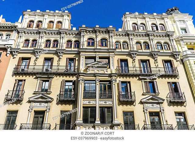 characteristic buildings on the street Gran Via in Madrid, capital of Spain