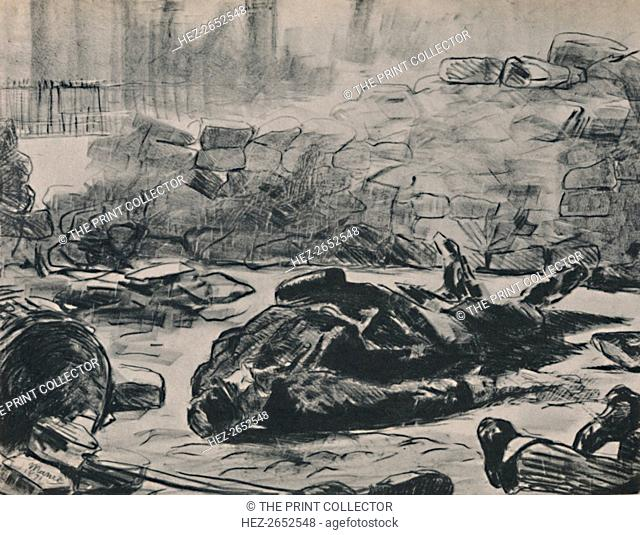 'The Barricade', c.1871-1873, (1946). Manet drew on his painting 'The Dead Toreador' for this print, also known as 'Civil War'