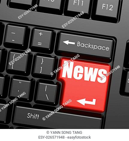 Red enter button on computer keyboard, news word. Business concept