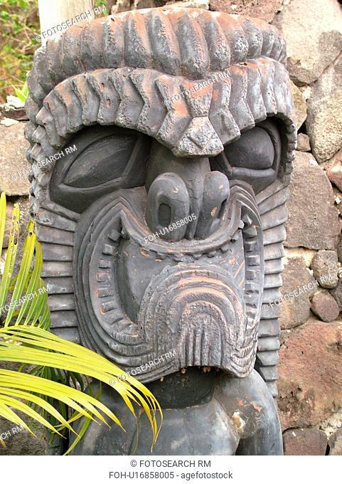 South Kona, Big Island, Island of Hawaii, HI, Hawaii, Kona Coast, Leeward, West Coast, Captain Cook, Royal Kona Museum & Coffee Mill, wooden carved god