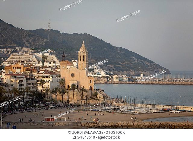View of La Punta church in Sitges, Barcelona