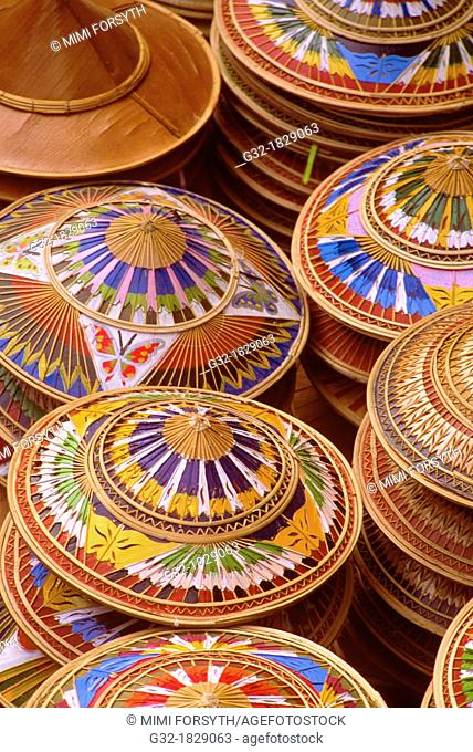 Painted coco fiber hats for sale, Thailand