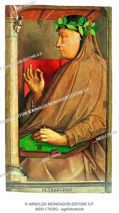 The famous men series: Petrarch (Uomini illustri: Petrarca), by Joost Van Wassenhove known as Giusto di Gand and Pedro Berruguete, 1472, 15th Century