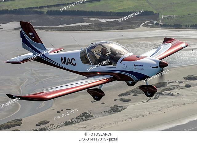 Evektor-Aerotechnik SportStar light aircraft in flight over North Canterbury