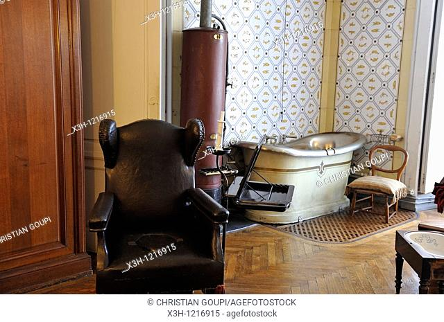 bathroom, Castle of Eu, Seine-Maritime department, Haute-Normandie region, northern France, Europe