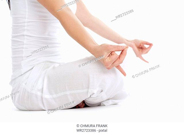 beauty, Caucasian, exercise, female, girl, harmony, human, isolated, lifestyle, meditate, meditation, people, pose, positive, relax, relaxation, sitting
