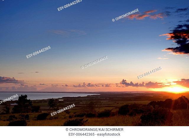 The island Moen Denmark in the evening light