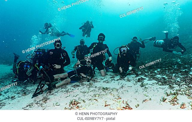 Underwater view with group shot of divers on ocean seabed in Raja Ampat, Sorong, Nusa Tenggara Barat, Indonesia