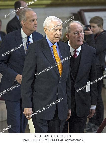 United States Senator Jerry Moran (Republican of Kansas), left, US Senator Orrin Hatch (Republican of Utah), center, and Lamar Alexander (Republican of...