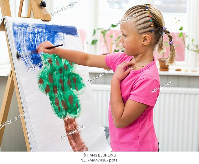 A girl painting, Sweden