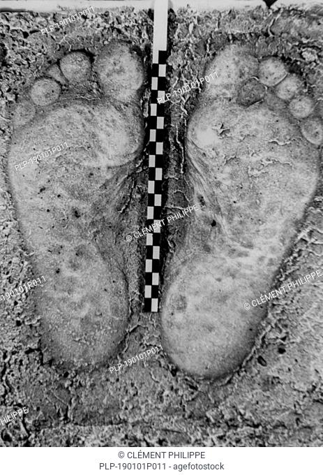 Old archival black and white photo of plaster cast of footprints from criminal's bare feet taken at crime scene for criminal investigation