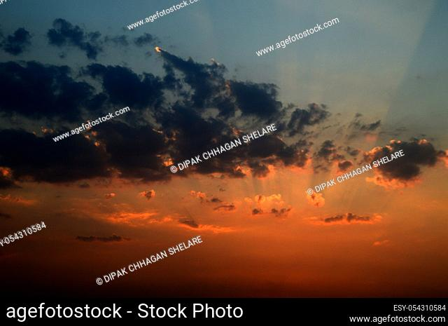 Beautiful sunset sky with clouds. Abstract sky