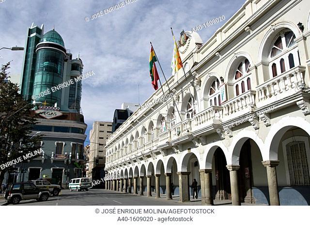 Bolivia. Oruro city. Oruro prefecture and the Main square