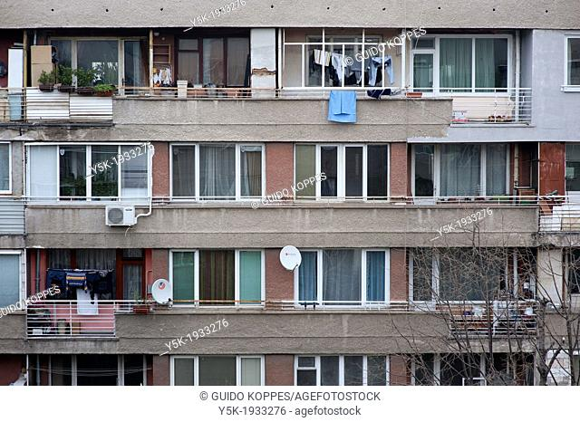 Sofia, Bulgaria. Facade of an apartment-building in a suburb neighborhood