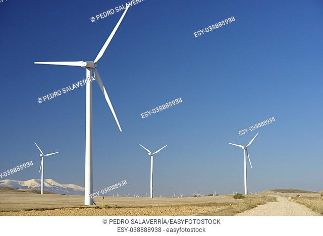 Windmills for renewable electric energy production, at background is Moncayo Peak, Pozuelo de Aragon, Zaragoza, Aragon, Spain