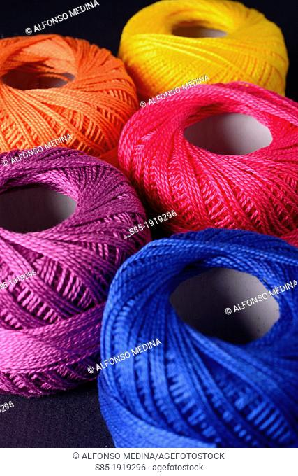 Colourful balls of yarn