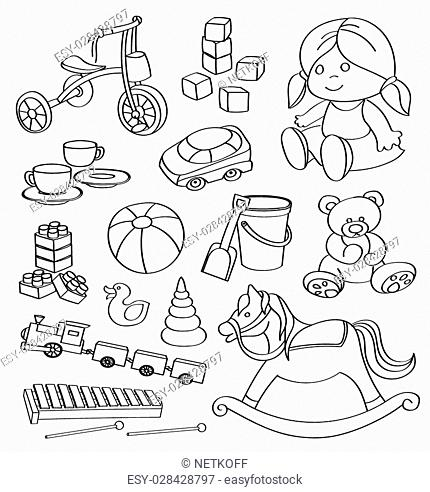 Hand drawn Doodle vector toys. Vector illustration for backgrounds, web design, design elements, textile prints, covers, greeting cards