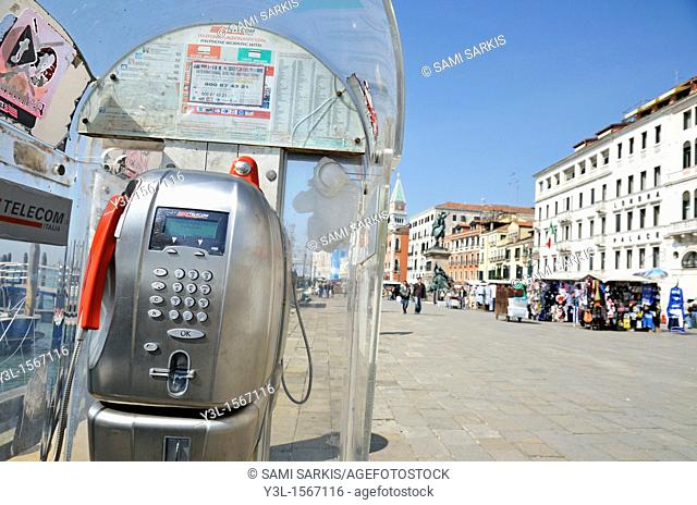 Pay phone in Venice, Italy
