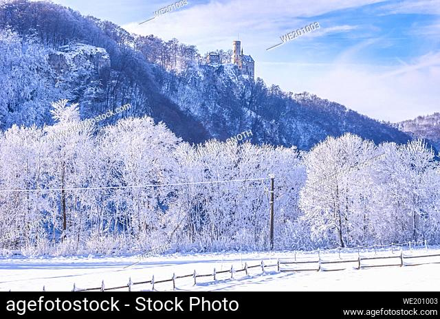 Winterly Lichtenstein Castle in snowy landscape, Honau, municipality of Lichtenstein near Reutlingen, Swabian Alb, Germany