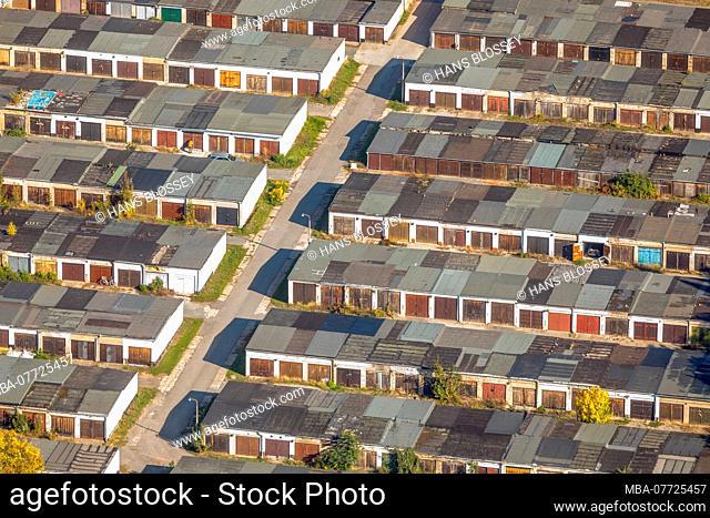 Aerial picture, garage park Aschersleben, Valentina Tereschkowa street, circle Paderborn, Saxony-Anhalt, Germany, Europe