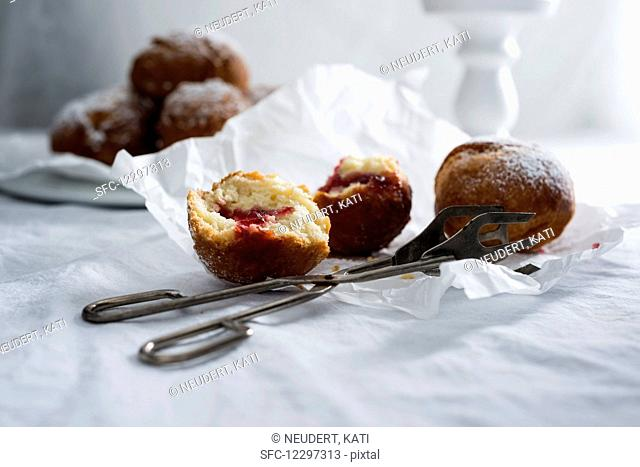 Vegan donuts, filled with currant jam
