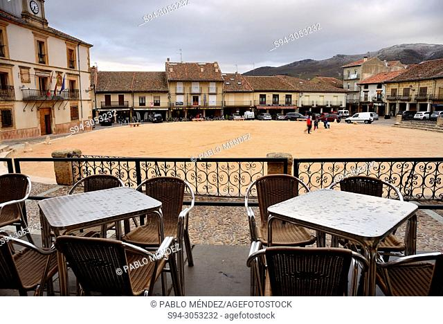 Chairs and tables in Main square of Riaza, Segovia, Spain