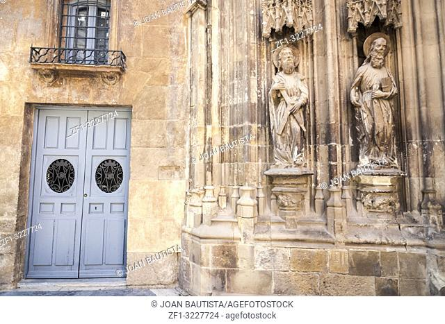 Cathedral Church of Saint Mary,detail door and religious image statue in Murcia,Spain