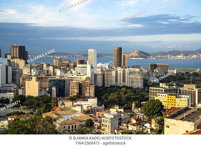 View of Rio city centre from Parque das Ruínas cultural centre, Santa Teresa neighbourhood, Rio de Janeiro, Brazil