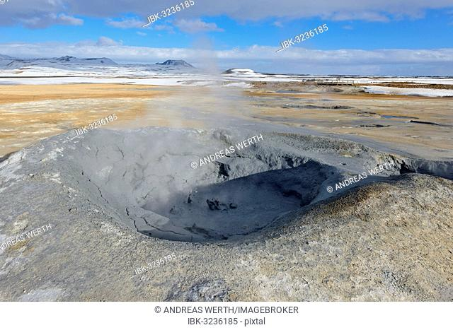 Solfataras, fumaroles, sulphur, steam, Hverarönd high-temperature or geothermal area, Mt Námafjall, Region Myvatn, Geothermalgebiet Hverarönd