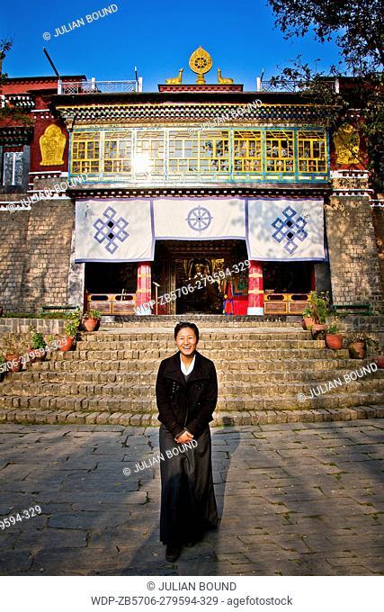 Tibetan Buddhist guide of Norbulingka Institute of Tibetan Arts, Dharamshala, India