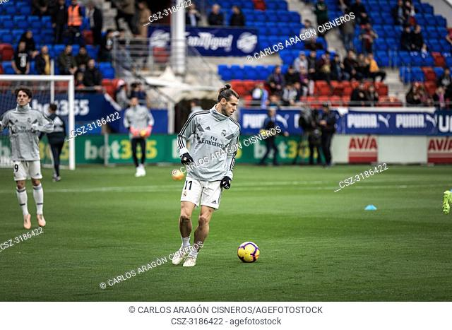 Gareth Bale, Real Madrid player in the preheating before the La Liga match between Eibar and Real Madrid CF at Ipurua Stadium on November 24, 2018 in Eibar
