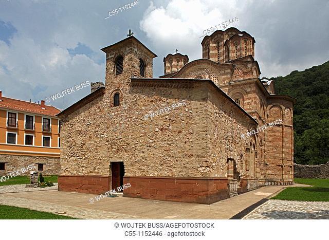Serbia,Ravanica Monastery,Ascension of Jesus Church,1375-1377,Prince Lazar's Foundation,Orthodox,christian,religious,exterior,outside,facade,colour