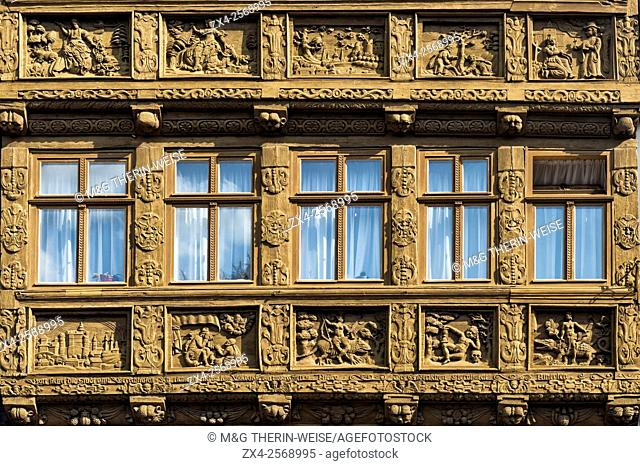 Decorative facade of a cafe, Wernigerode, Harz, Saxony-Anhalt, Germany
