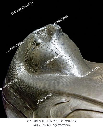 Egypt, Cairo, Egyptian Museum, silver coffin with hawk head, found in the royal necropolis of Tanis, burial of the king Sheshonq 2