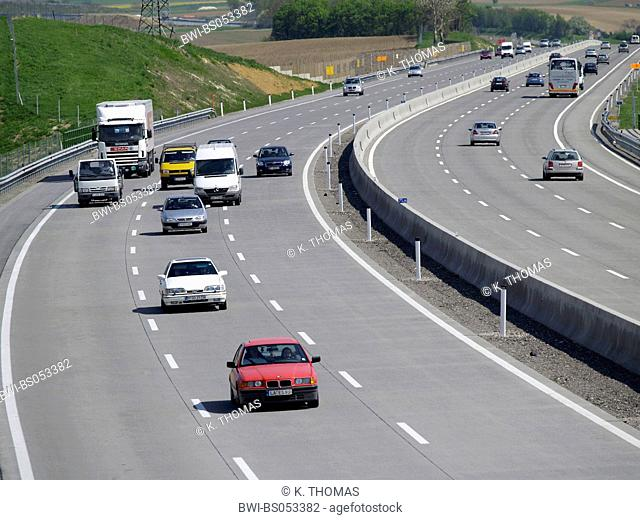A1 West motorway, guide rail, concrete road surface