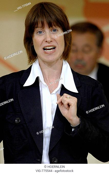 GERMANY, WIESBADEN, 22.04.2008, Heike HOFMANN, (SPD), delegate and right-wing politically speaker of the Hessian Social Democratic Party of the fraction of a...