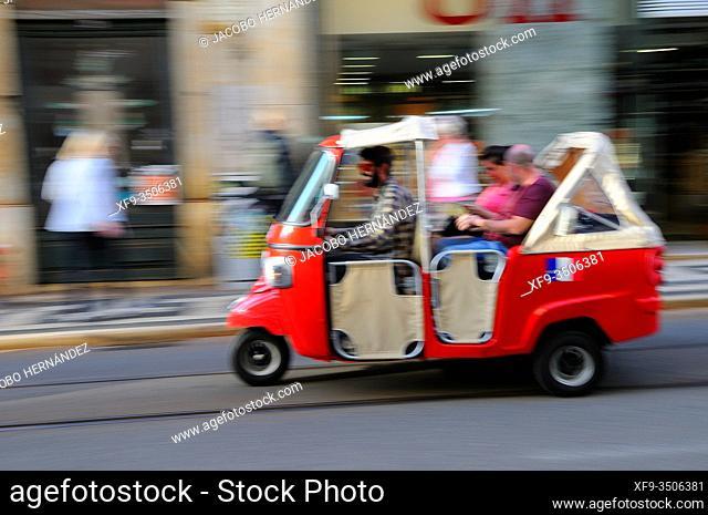 Tuk tuk.Tourist transport. Lisbon. Portugal