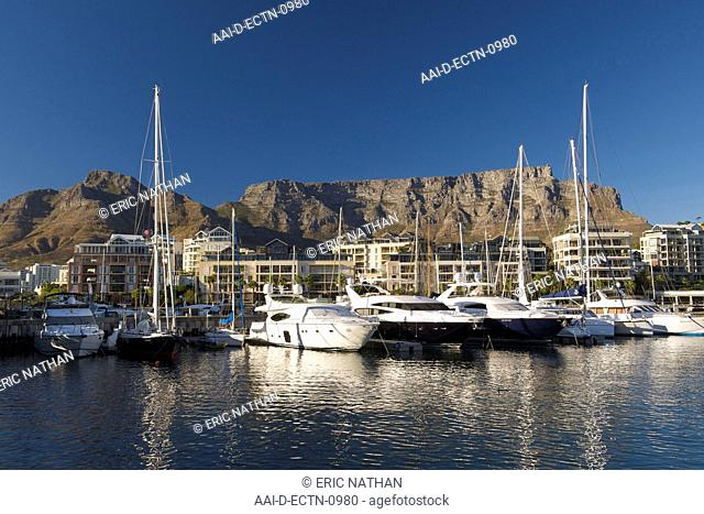 Early morning view of boats moored in the marina at the Waterfront in Cape Town, South Africa