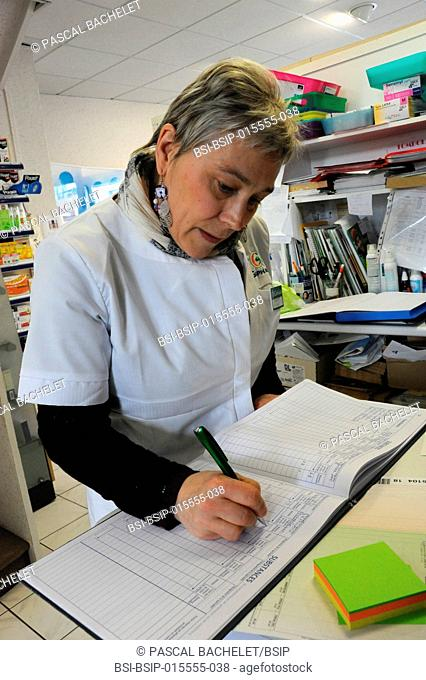 Reportage in a pharmacy in Auxi-le-Château, France. Register of substances and medication classed as narcotics