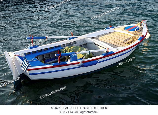 Small fishing boat in the port of Pythagorio, Samos island, North Aegean islands, Greece, Europe
