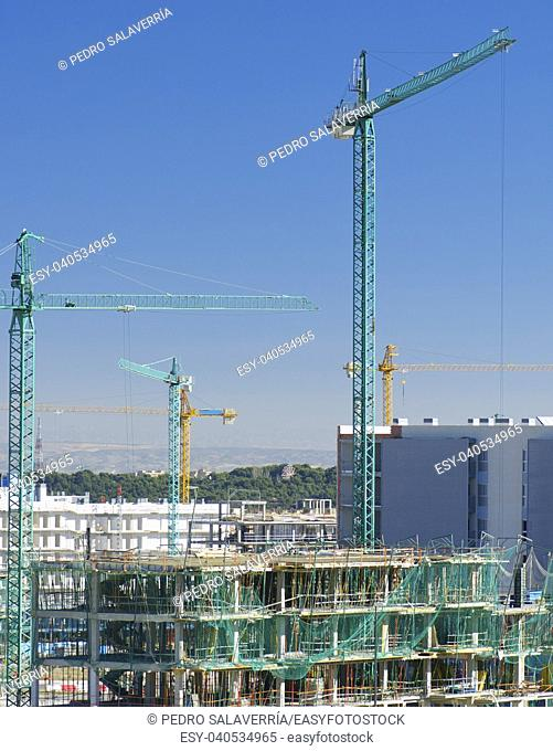 Construction work site with blue sky in Zaragoza, Aragón, Spain