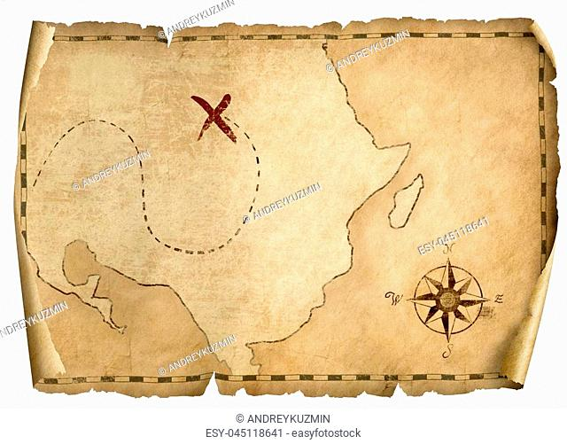 treasure pirates' old parchment map isolated on white