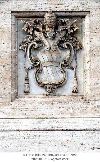 Italy. Lacio. Rome. San Giovanni in Laterano. Papal coat of arms as Rome bishop placed in the façade of the basilica. UNESCO World Heritage