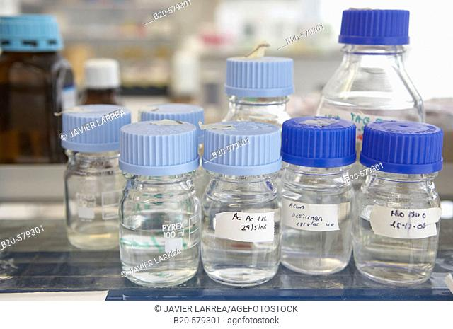 Bottles with chemical solutions. Laboratory, Fundación Inbiomed, Genetrix Group. Center for research in stem cells and regenerative medicine